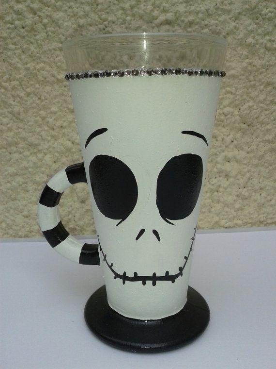 Nightmare Before Christmas, Jack Skellington Hot Chocolate/Latte Design Glass