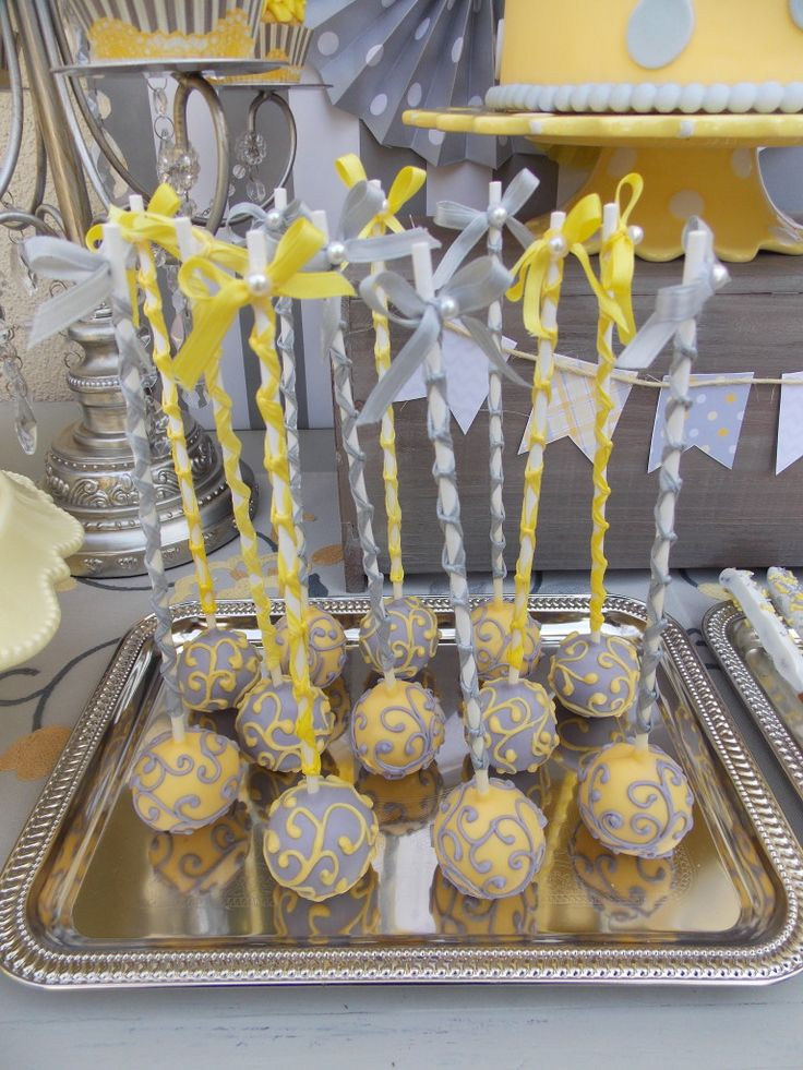 #grayandyellow cake pops: Shower Ideas, Gender Reveal Parties, Yellow Cake, Cake Pops, Ties Or Tutus, Reveal Party, Party Ideas, Baby Shower