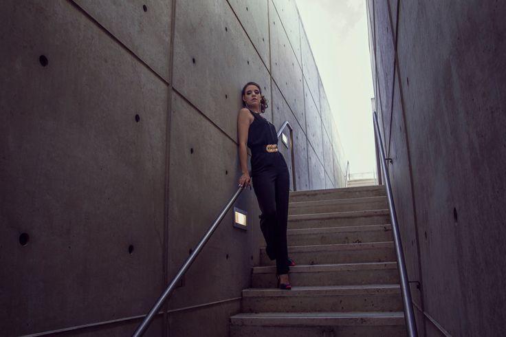 Photo-shoot: High Fashion/Jumpsuit Location: Salk Institute, San Diego Model: Elena Sacco
