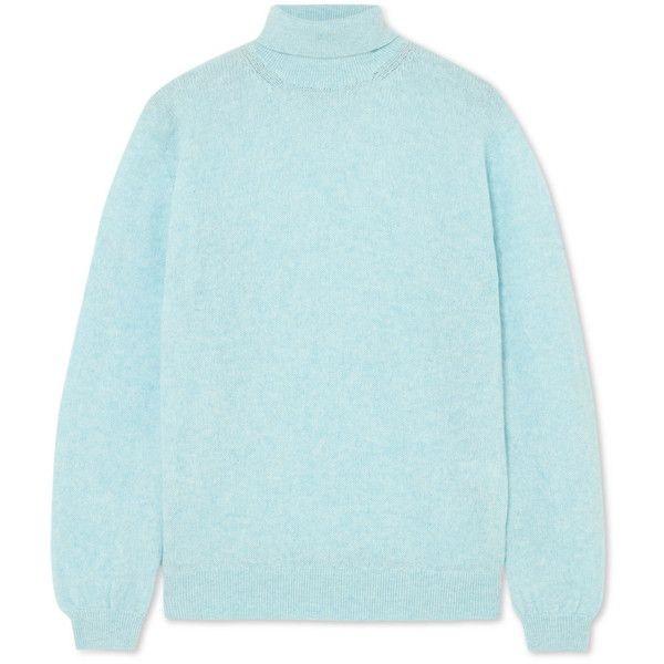 Khaite Julie cashmere turtleneck sweater (€550) ❤ liked on Polyvore featuring tops, sweaters, light blue, loose fit sweater, blue turtleneck sweater, cashmere turtleneck, blue cashmere sweater and blue sweater