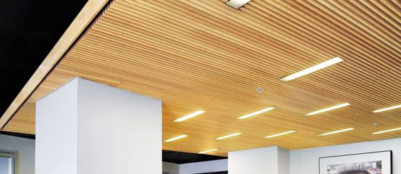 Woodworks grille maple 10 essex interiors pinterest ceilings woods and woodwork - Wood slat ceiling system ...