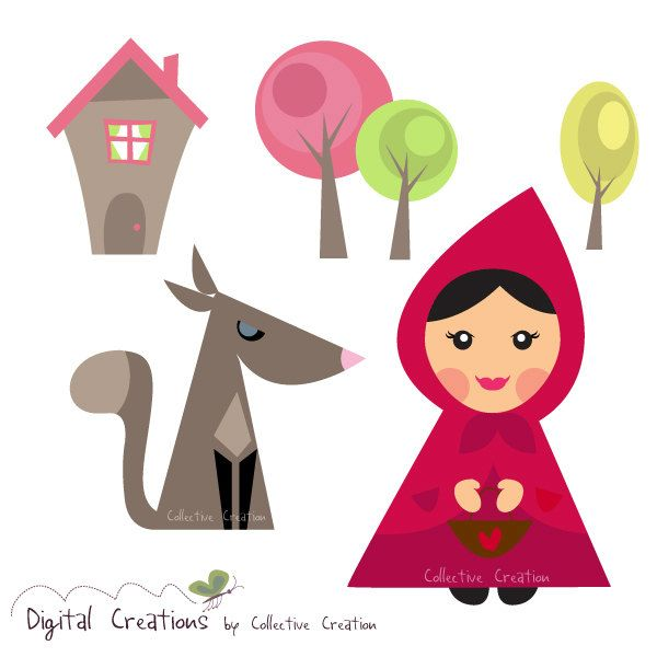 Little Red Riding Hood and the Wolf Digital Clipart Set - Ideal for Scrapbooking, Card Making and Paper Crafts, Clip Art. $4.00, via Etsy.
