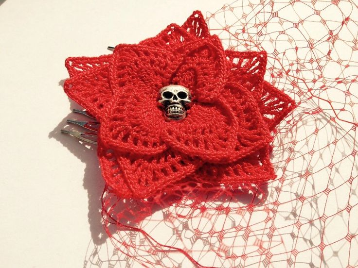 A personal favorite from my Etsy shop https://www.etsy.com/listing/231411111/badass-red-crochet-lace-gothic-rose-with