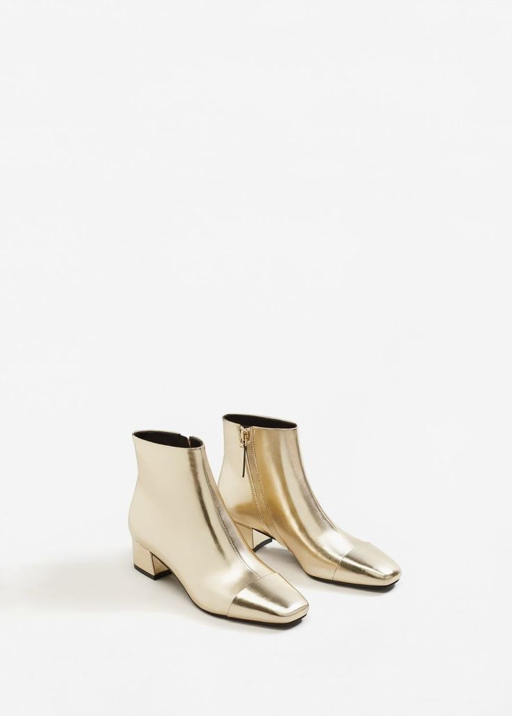 Zipped metallic boots via shop.MANGO.com. #fallfashion #Mango #fallstyle