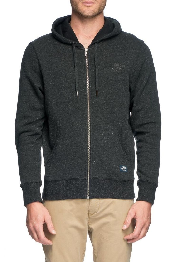 ELWOOD CLOTHING - Basic Zip Thru Hoodie Black Marle
