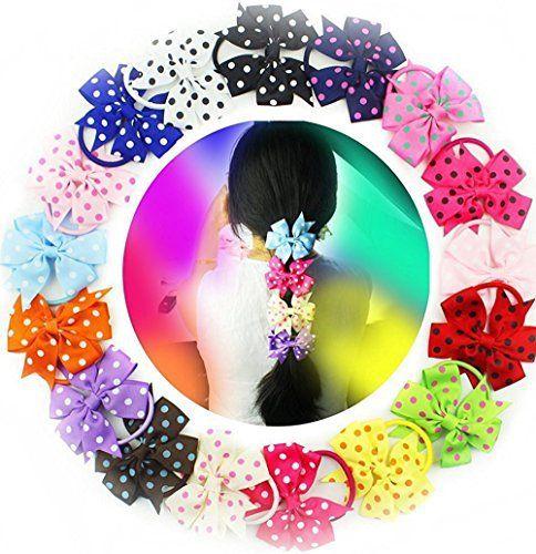Lot de 188,9cm cadeau fille Accessoires cheveux Pinwheel nœuds à pois cheveux en caoutchouc bande élastique de queue de cheval: Bow…