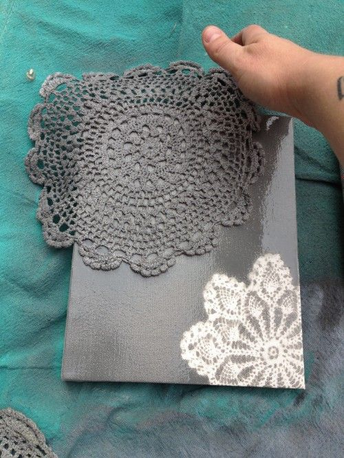 Spray paint doilies on canvas (or shoe box – note from a previous pin) = instant art.  Also a cute idea for Valentines Day cards. Could also use hand cut paper snowflakes if you dont want to ruin a doily. Make them rounded and flowery and using a box with the bottom cut out as a protected surround, you can make art right on the walls, too, for a color pop.