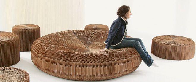 corrugated cardboard floof ottoman couch