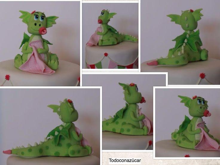 Tarta para Baby  shower de dragon con fondant .http://todoconazucar.blogspot.com.es/2016/11/tarta-dragon-bebe.html