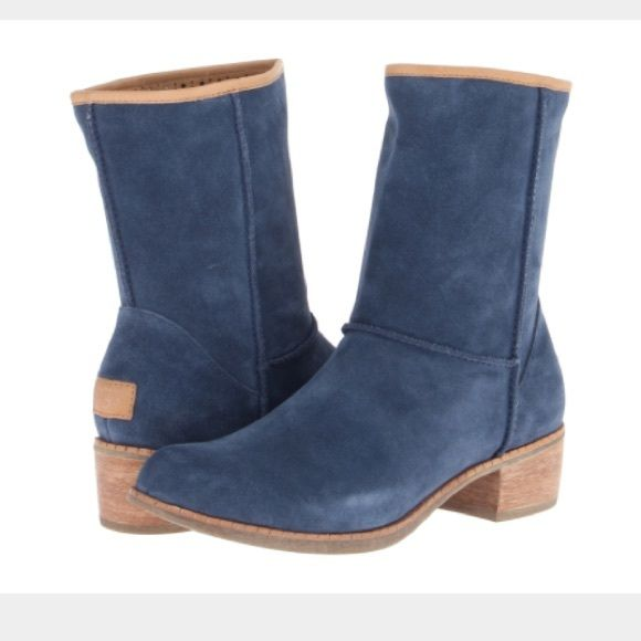 Blue Suede Ugg Boots Gorgeous ugg blue suede boots! Size 9. Sold out everywhere!! Wood heel with rubber sole. Great with skinny jeans or dresses! Fur on bottom of inside of boot, leather trim on top. Worn 2-3 times, in excellent condition! No trades or PayPal. Thanks! UGG Shoes Winter & Rain Boots