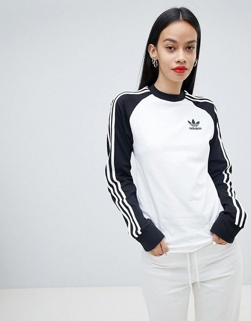 the best attitude bac6f 5727d Adidas Originals Three Stripe Long Sleeve T-Shirt In Black And White