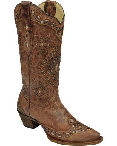 Corral Glitter Inlay Cowgirl Boots - Snip Toe - Country Outfitter