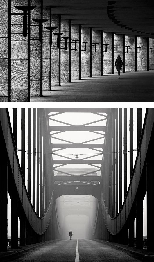 """""""Kai Ziehl urban landscapes focus on symmetrical and geometrical shapes that are almost always broken by people silhouettes."""""""