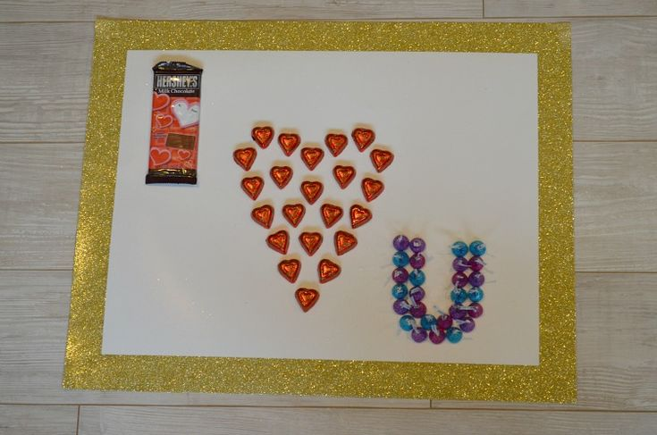 This Valentine's Day Say I Love You with Chocolate! Spell out I love you in chocolate on a giant Valentine's Day card.