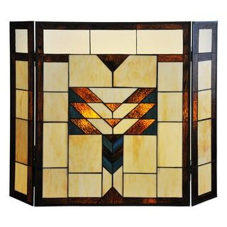26-inch Mission Style Stained Glass Fireplace Screen