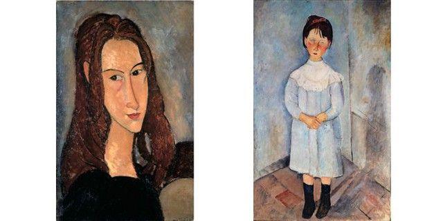 Amedeo Modigliani - A gauche, Portrait de la jeune fille rousse (Jeanne Hébuterne), 1918, Collection privée - A droite, Fillette en bleu, 1918, Collection privée
