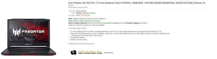 [Amazon Canada][Amazon.CA] Acer Predator 17-i7-6700HQ 16GB RAM 1TB HDD256GB256GB RAIDNVIDIA GTX 980MRGB keyb... http://www.lavahotdeals.com/ca/cheap/amazon-canadaamazon-acer-predator-17-i7-6700hq-16gb/171241?utm_source=pinterest&utm_medium=rss&utm_campaign=at_lavahotdeals