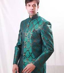 Buy Brocade and Satin Zari, Self design Brocade and Satin sherwani wedding-sherwani online