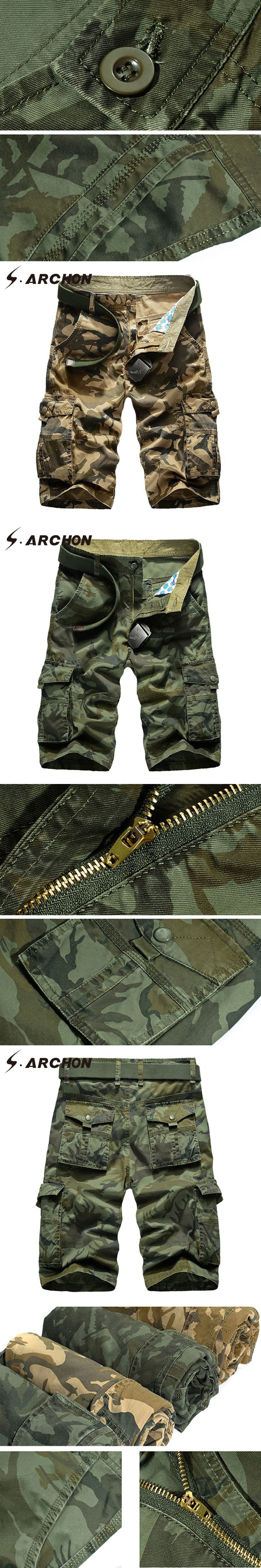 S.ARCHON Casual Army Tactical Camouflage Cargo Shorts Men Summer Fashion Multi Pockets Cotton Airsoft Paintball Military Shorts