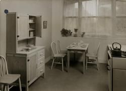 Utility Kitchen, 1947. Kitchen furnished with utility furniture.
