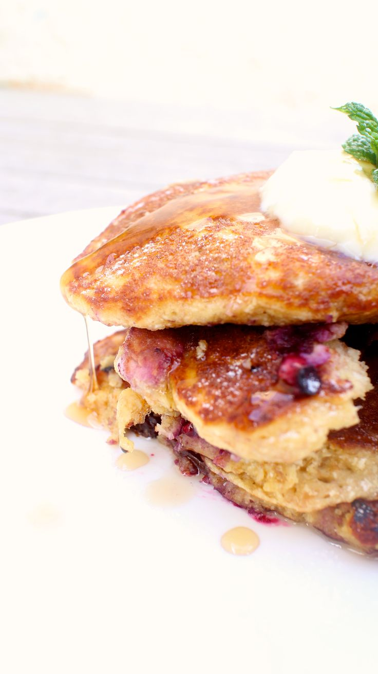 Blueberry & Spelt Pancakes, oh and maple syrup! See more at www.thecowandbee.com