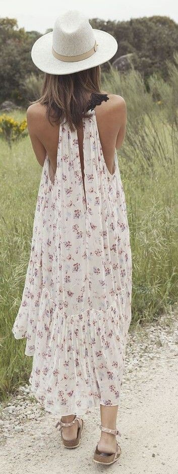 #spring #summer #outfitideas | Floral Print Maxi Dress| Lady Addict                                                                             Source