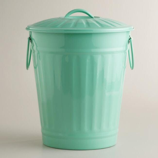 Mint Retro Galvanized Trash Can at World Market, $19.99  This super petite, vintage-inspired trash can works wonders in a cramped kitchen or a studio apartment. Not only does this charming can come with a fitted lid and side handles for functionality, it's made of a mint-green galvanized metal that prevents rust and looks insanely chic.
