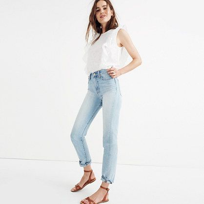 Our wear-every-day summer jeans are back. With the same '90s-supermodel-inspired high rise that perfectly accentuates the waist, this pair is a year-rounder. <ul><li>Monogramming available for US customers: To have this item embroidered with up to nine letters for $10 (free for Madewell Insiders), please call 866 544 1937.</li><li>Premium 100% cotton denim from Italy's Candiani mill.</li><li>Superpale indigo wash with a definite vintage v...