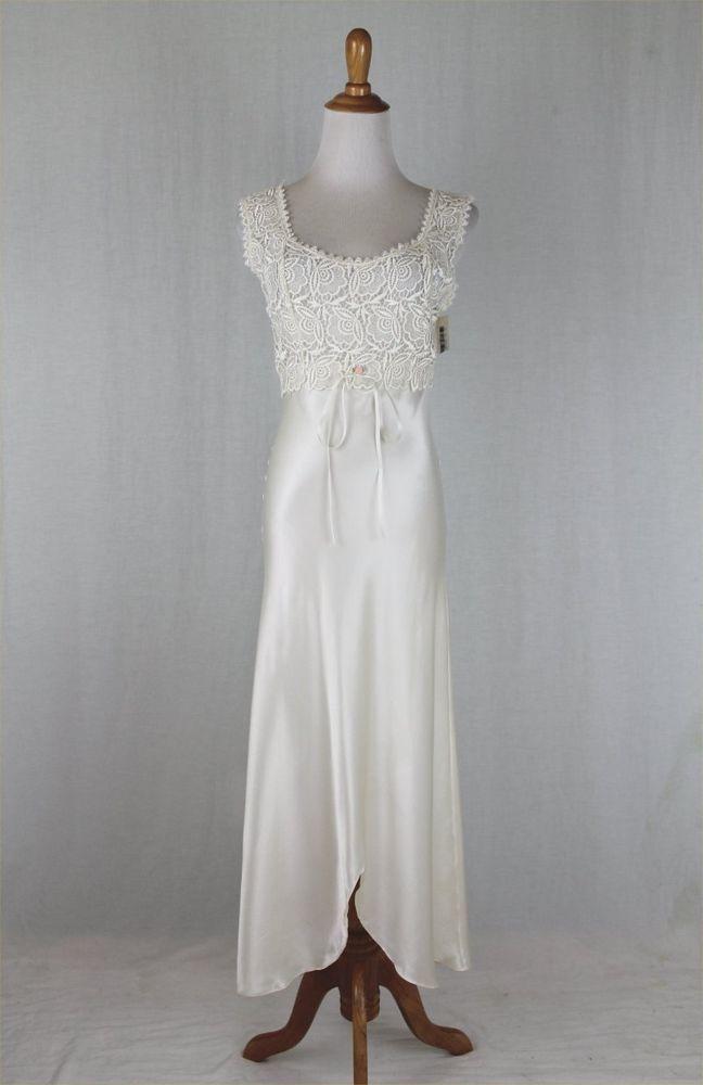 661f993b5ab FLORA NIKROOZ Vintage Ivory Satin   Lace Honeymoon Negligee Nightgown S NWT   FloraNikrooz  Gowns  Bridal