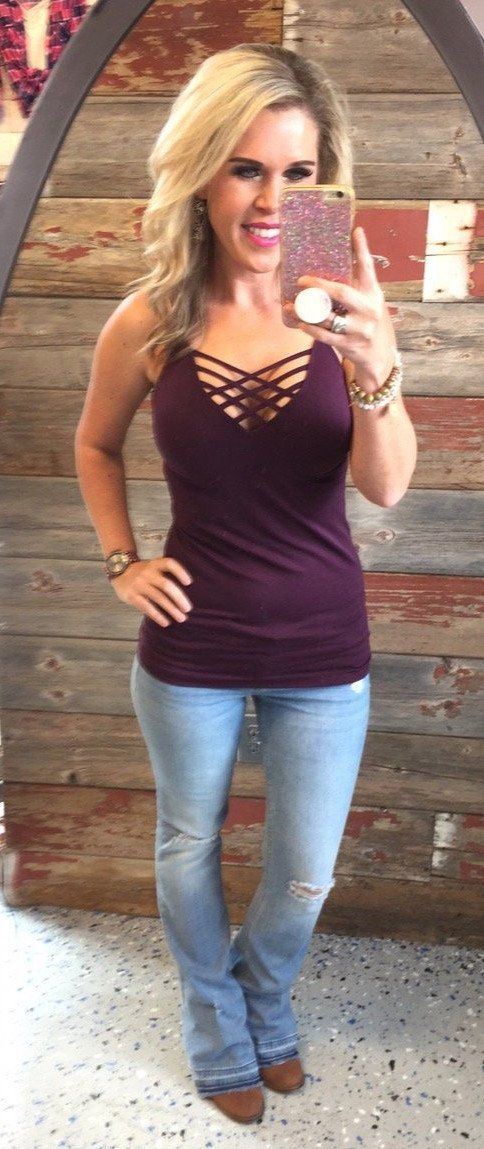 Long Caged Cami: Plum from privityboutique