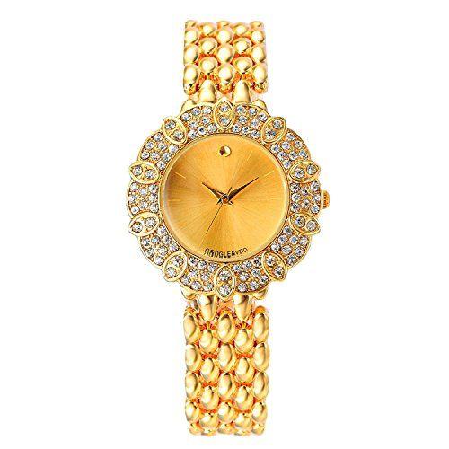 harwish Damen-Quarz-Uhrwerk Armband Edelstahl Diamant Fall Armbanduhr Gold - http://uhr.haus/harwish/harwish-damen-quarz-uhrwerk-armband-edelstahl