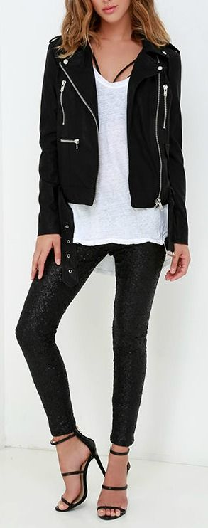 strappy classic look - black leather jacket, black skinn jeans/leggings, white tee, heels