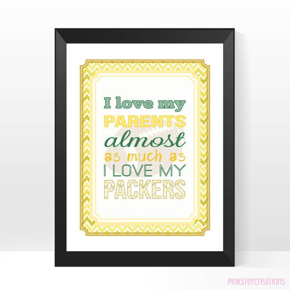 Green Bay Packers Funny Nursery Art Print by PinksterCreations