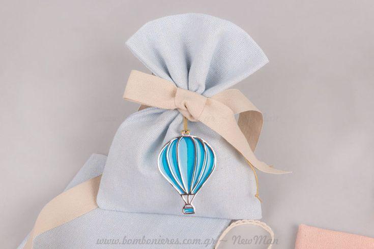 Μπομπονιέρα αερόστατο αγοράκι