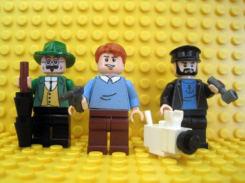 Tintin Characters - Prof. Calculus, Tintin, Snowy, and Captain Haddock.