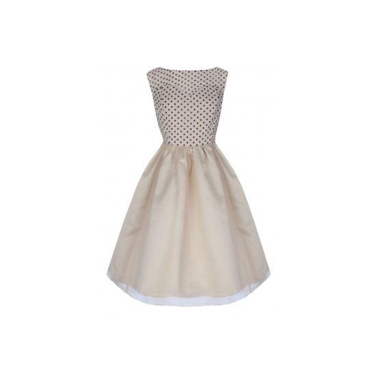 Lindy Bop Violetta Cream Šaty ve stylu 50. let. Romantické šaty vhodné díky decentnímu lesku materiálu do společnosti, na ples, na svatbu, promoci nebo jinou slavnostní příležitost. Příjemná béžová barva doplněná černým puntíkem na živůtku, zip na zadní straně.