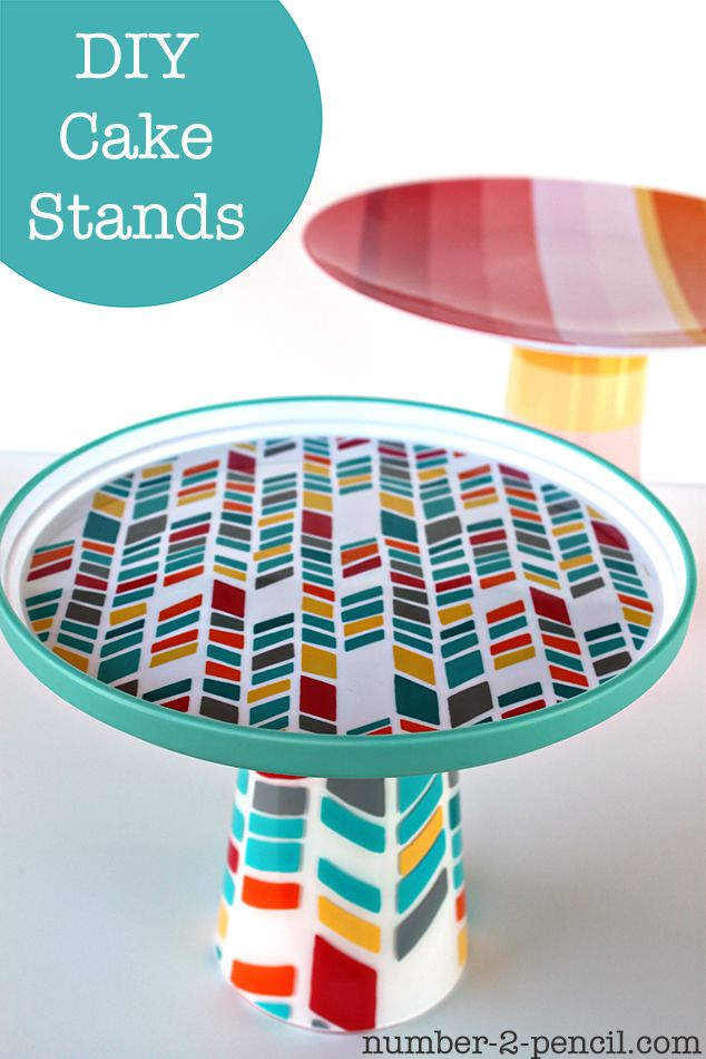 DIY Cake Stands from outdoor plates and cups from Target. #DIY . I am not crazy about these patterns but its a great idea for a solid or pattern I love. Cute, easy, and cheap way to match the party decor and theme. :)
