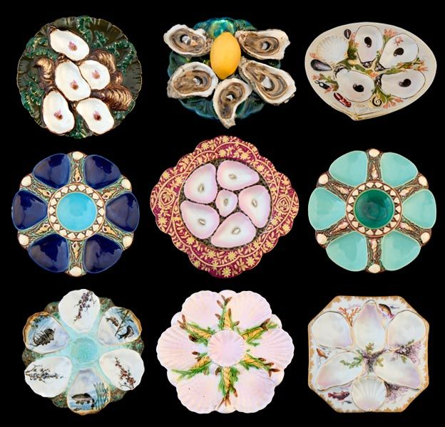 Vintage oyster plates!Decor, Beautiful China, New Orleans Antiques, Majolica Oysters, Antiques Majolica, Tables Sets, Oysters Plates, Ceramics, Collection