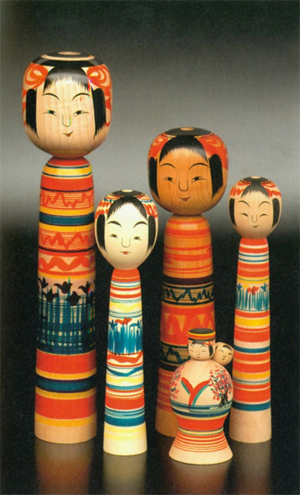 Japanese Kokeshi dolls were given as gifts to newborn children as a lucky charm to bestow good wishes for a healthy child. | Japan