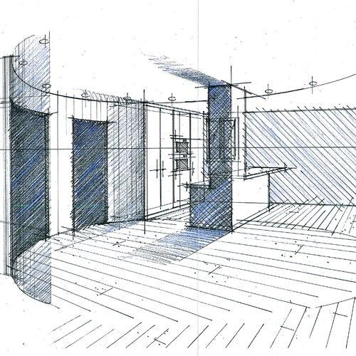 Croquis d 39 avant projet sommaire r alis s par l 39 agence de for Architecte d interieur