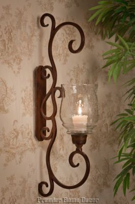 Old World Tuscan St/2 Bronze Finish Iron Flare Scroll Wall Sconce Candleholder