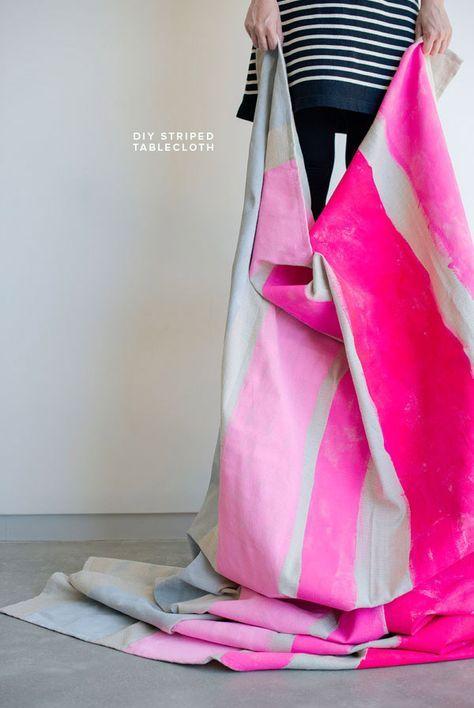 DIY Neon Striped Tablecloth
