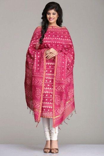 Mystical Onion Pink Chanderi Unstitched Kurta & Dupatta Set With Geometric Hand Block Print & Gold Zari Border