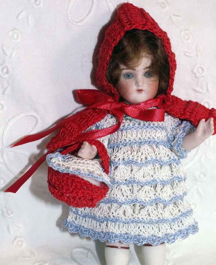 "5pc RED RIDING HOOD Dress Set for 5.5-6.5"" Antique BISQUE Miniature Cabinet Doll"