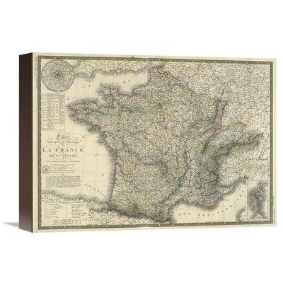 Global Gallery Carte physique et routiere de la France, de la Suisse, 1827 by Adrien Hubert Brue Graphic Art on Wrapped Canvas Size:
