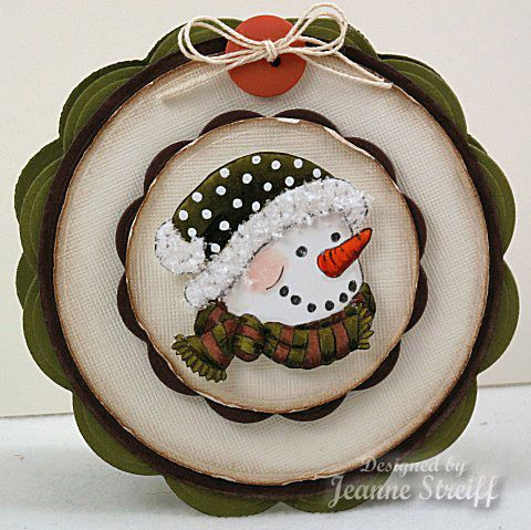 handmade winter card ... round format  ..layers ... adorable snowman head ... Just Rite Stamps ...