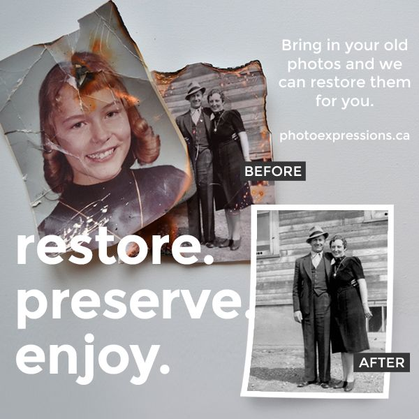 Do you have old photos that are ripped or faded or damaged? We can help restore them at Photo Express. www.photoexpressions.ca