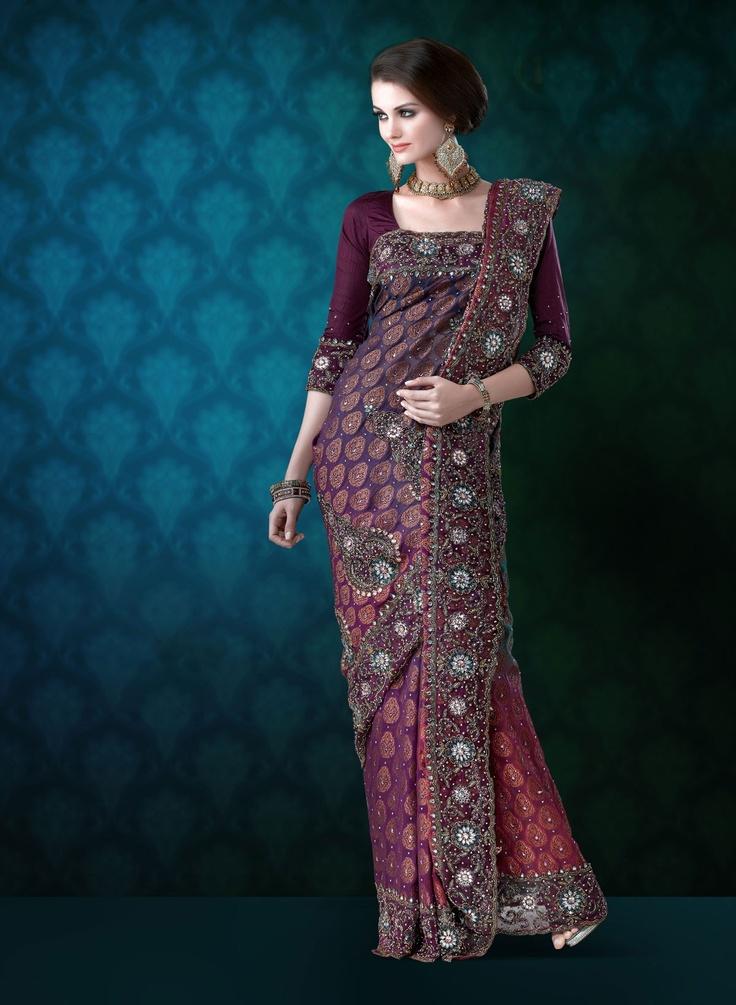 Mauve Viscose Wedding Saree with Zari  - IndusDiva.com