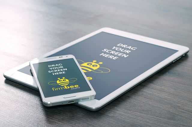 An iPad with mobile on the table #free #psd #ipad #design #mockup #business #mobile #android #desk #office #