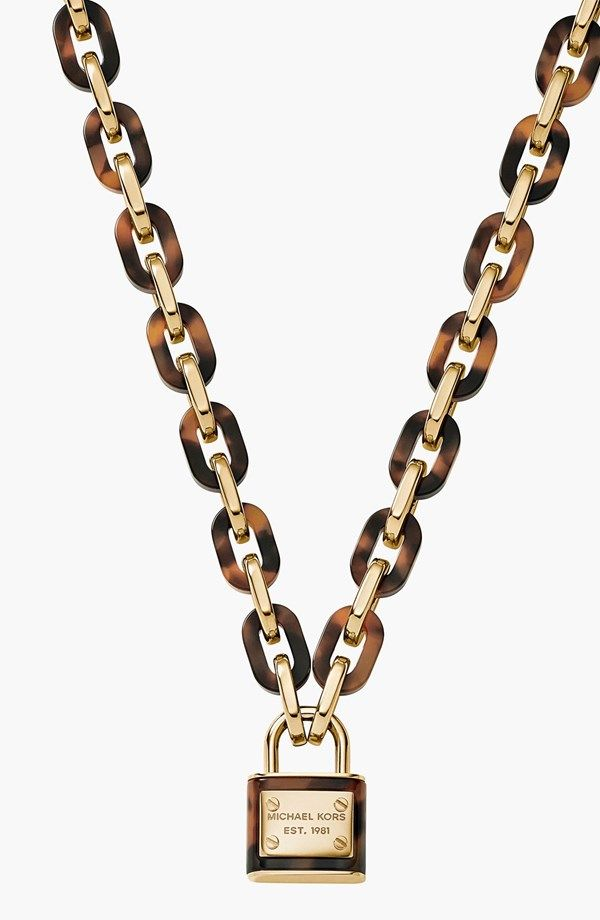 Michael Kors 'Motif Brilliance' Padlock Pendant Necklace
